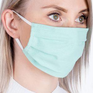 5x Behelfs- Mundschutz & Nasenmaske waschbar Mundmaske Gesichtmaske Mundbedeckung Stoffmaske aus Baumwolle MINZ-GRÜN
