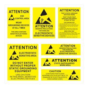 Aufkleber Bogen mit internationalem ESD Warnhinweis 7 Sticker Englisch