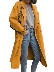 Damen Wollmantel Trenchcoat Damen warmen langen Mantel,Farbe: gelb,Größe:M