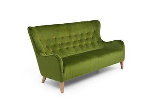 Max Winzer Medina Sofa 2,5-Sitzer - Farbe: oliv mit gelben Knöpfen - Maße: 190 cm x 93 cm x 103 cm; 30171-3000-2044229-2044266-F01