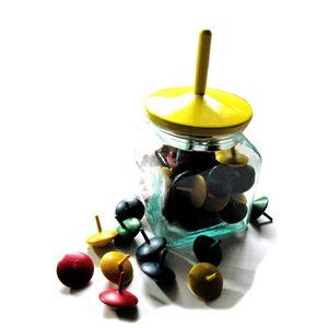 BestSaller 21433 Glas mit 50 Fingerkreisel, farbig 35mm + 1 Kreisel 120mm, bunt, 52-teilig (1 Set)