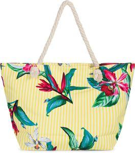 styleBREAKER Damen XXL Strandtasche mit Streifen Blumen Blüten Print und Reißverschluss, Schultertasche, Shopper 02012278, Farbe:Gelb-Weiß
