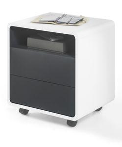 Rollcontainer Tadeo in weiß und schwarz 47 x 55 cm rollbar