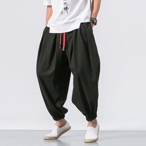 Herrenmode lässig lose einfarbige Haremshose mit breitem Bein elastische Hose Größe:XXL,Farbe:Schwarz