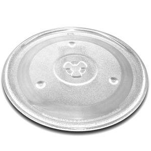 vhbw Glas Mikrowellen-Teller 27cm mit Y-Aufnahme passend für Mikrowellen von Bosch, Siemens, AEG, Severin, Panasonic, Samsung, Clatronic, LG, Bomann