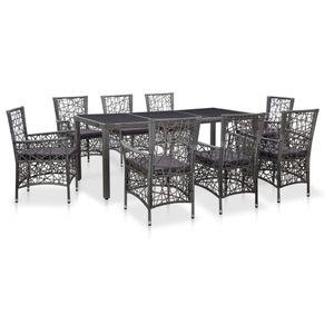 9-teiliges Outdoor-Essgarnitur Garten-Essgruppe Sitzgruppe Tisch + stuhl Poly Rattan Grau