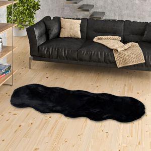 Luxus Super Soft Fellteppich Plush Schwarz Shape XL, Größe:55x160 cm
