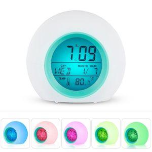 LED Wecker Stimmungslicht Kinder Alarmwecker Lichtwecker Nachttischlamp 7 Farbe LED Wecker digitaler Nachtwecker Stimmungslicht