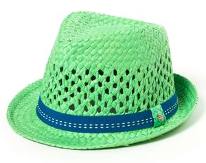 Kinder Hut, Sommerhut, Trilby Hut mit Band in farbenfrohen Farben, Farbe:Grün, Size:51cm