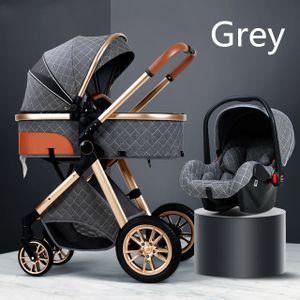 3 in 1 Kinderwagen Royal Luxury Leder Aluminiumrahmen High Landscape Folding Kinderwagen Kinderwagen mit Geschenken Kinderwagen,Grau