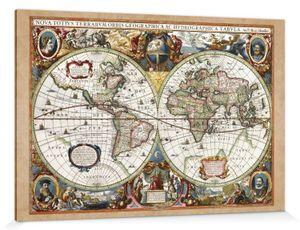 Historische Landkarten Poster Leinwandbild Auf Keilrahmen - Weltkarte, Nova Totius Terrarum, 1630 (120 x 180 cm)