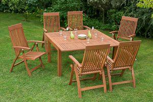 Merxx 7tlg. Comodoro Gartenmöbelset - 6 Sessel, 1 Tisch - Farbe: braun - Maße: Sessel:63x62x110 + Tisch: 100/150x150x74; 6x 25000-011  + 1x 25921-011
