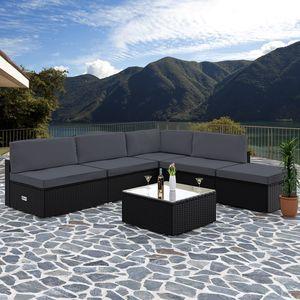 Casaria Poly Rattan XL Lounge Set Auflagen & Kissen Gartenlounge Sitzgruppe Gartenmöbel Set, Farbe:schwarz/anthrazit