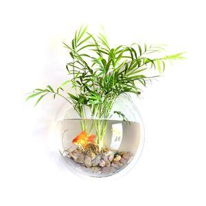 15cm Aquarien Acryl Transparent Fische Schüsseln an der Wand montiert Wasser Aquarium