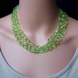 Z281# Perlenkette lang maigrün Imitationsperlen Wickelkette Halskette