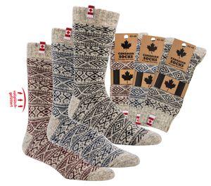 """1 Paar""""Canadian Socks"""" THERMO-Wollsocken Norweger Socken  Gr. 39/42 natur rot"""