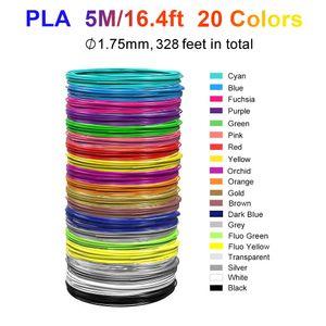 PLA 3D Stift / Drucker Filament, 20 Farben 164ft 1,75 mm Durchmesser Zubehör Weihnachtsgeburtstagsgeschenk für Kinder