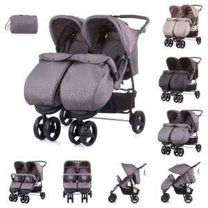 Chipolino Geschwisterkinderwagen Maxi Mix, Fußabdeckung, Rückenlehne verstellbar pink
