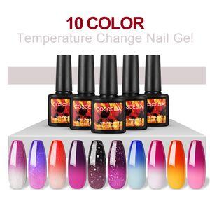 COSCELIA 10 Farben Thermo Nagellack Gellack UV Farben Thermolack Gelnägel Farblacken LED Lacken