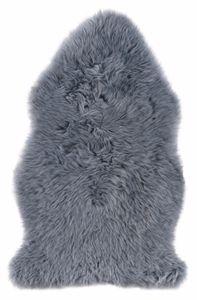 Schaffell Echtfell 60 x 85 cm Grau Teppichläufer Lammfell Fellteppich Naturgegerbt