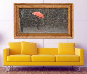 3D Wandtattoo Regenschirm rot Retro Regen selbstklebend Wandbild sticker Wohnzimmer Wand Aufkleber 11K552, Wandbild Größe F:ca. 97cmx57cm
