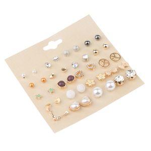 Korean Fashion 20pcs Ohrstecker Perlen Künstliche Perle Blume Herzform
