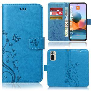Handytasche für Xiaomi Redmi Note 10 Pro / Note 10 Pro Max Bookstyle Handyhülle Klapptasche mit Blumenmuster Schutzhülle mit Kartenfächer in Blau