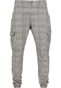 Urban Classics TB3138  AOP Glencheck Cargo Jog Pants, Größe:M, Farbe:WHITE/BLACK
