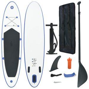 Aufblasbares Stand Up Paddle Board PaddleBoard SUP Surfboard Surfbrett Surfbretter 390 x 81 x 10 cm Blau und Weiß