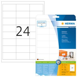 Etiketten Premium A4, weiß 66x33,8 mm Papier matt 600 St.