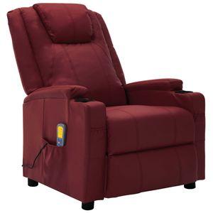 Eleganter - Elektrisch TV-Massagesessel Weinrot Kunstleder|Fernsehsessel,Loungesessel,TV- Sessel für Wohnzimmer