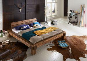 Massivholzbett Balkenbett 200 x 200 cm aus Akazie ELKE
