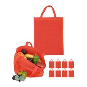 relaxdays 10 x Stoffbeutel Shoppingbeutel Stofftasche Textiltasche Einkaufsbeutel rot