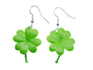 Kleeblatt Ohrringe Miniblings Klee Blätter Blatt grün Gummi Glücksbringer Glück