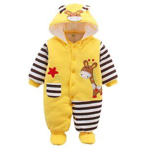 Baby Overall Mit Kapuze Footies Strampler Schneeanzüge Karikatur Jumpsuit Unisex Winter Kleidungsset, Giraffe 12-18 Monate, C