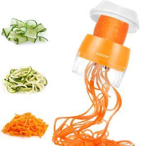ADORIC Spiralschneider Hand [ 3 in 1 ] Gemüse Spiralschneider, Gemüsehobel für Karotte, Gurke, Kartoffel,Kürbis, Zucchini, Zwiebel, Gemüsespaghetti,Tastenumschalten (MEHRWEG) (Orange)