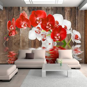 Vlies Tapete ! Top ! Fototapete ! Wandbilder XXL ! 300x210 cm  ABSTRAKT BLUMEN ORCHIDEE ROT WEIß HOLZ BRETTER b-A-0015-a-c