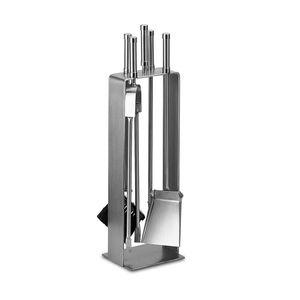 Echt Edelstahl Kamin-Set Kaminbesteck Kamingarnitur elegante Ofengarnitur h 66cm