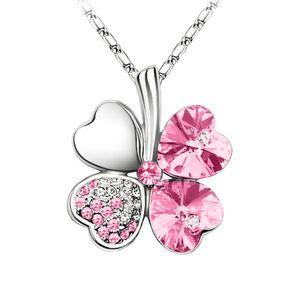 Halskette Damen Kleeblatt Glücksbringer Collier Zirkonia Strass Kristall pink2