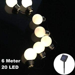 20 LED / 6 Meter Solar Lichterkette Glühbirnen Matt Deko Warm-Weiß Solarbetrieben zum Schmücken Deko Party Licht Beleuchtung