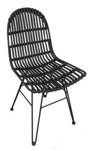SIT Möbel Stuhl | Sitzschale Rattan | Gestell Metall | B 50 x T 60 x H 84,5 cm | 05324-11 | Serie RATTAN