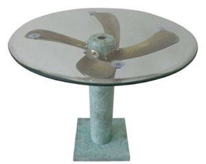 Casa Padrino Art Deco Beistelltisch Mintgrün / Messingfarben Ø 61 x H. 52 cm - Runder Flugzeug Propeller Tisch - Vintage Flieger Flugzeug Möbel