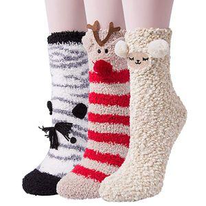 3 Paar Kuschelsocken Flauschige Damen Socken Süßes Geschenk Weihnachtssocken Valentinstag Geburtstagsgeschenk für Frauen, Freundin MEHRWEG