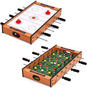 COSTWAY 2 in 1 Spieltisch, Multifunktionsspieltisch aus Holz, Multi-Spieltisch, Air Hockeytisch und Tischkicker, perfekt fuer Spielzimmer, Bars, Partys, fuer Erwachsene und Kinder