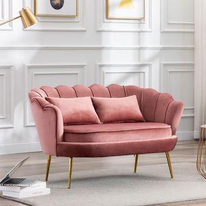 Modernes 2-Sitzer-Sofa Gepolsterter Samt-Loveseat-Sofa, goldenen Metallbeinen, für Wohnzimmer, Schlafzimme,135cm ,Rosa