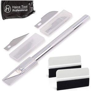 Haice Bastelmesser, Skalpell Set inkl. 10* SK5 Ersatzklingen und Schutzkappe, 30 Grad Handwerksmesser mit Sicherheitskappe von Fondant Stoff Kohlefolie Basteln (Silber)