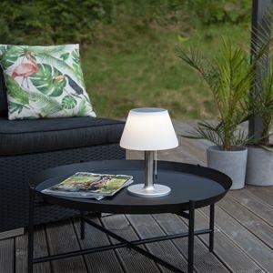 LED Tischleuchte mit Solarpanel - H: 28cm - warmweisse LED - für Garten, Terrasse, Balkon