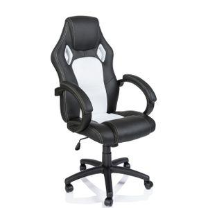 TRESKO Racing Chefsessel Bürostuhl Drehstuhl Sportsitz Bürosessel Schreibtischstuhl schwarz/weiß