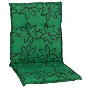 Gartenstuhl-Auflage Barcelona – Niedriglehnerauflage für Gartenstühle, Dessin:Grün mit Blumen, Anzahl:1x