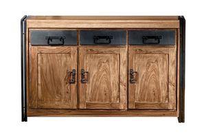 SIT Möbel Sideboard | aus Akazie-Holz | 3 Schubladen und 3 Türen | natur mit antikschwarz | B 140 x T 40 x H 90 cm | 09203-01 | Serie PANAMA
